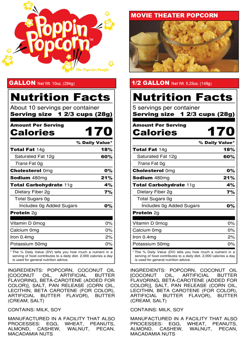 Movie Popcorn Nutrition Facts Zona Ilmu 8